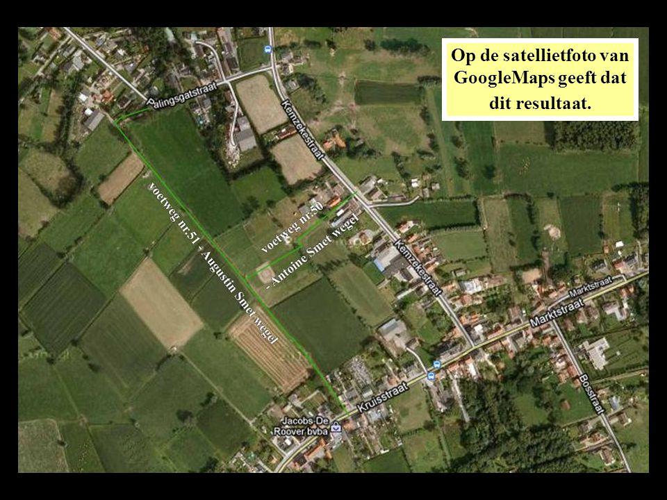 De pijltjes op de satellietfoto geven de plaats aan en de richting waarin de volgende foto's gemaakt zijn bij een verkenning van voetweg nr.50 op 3 maart 2012.