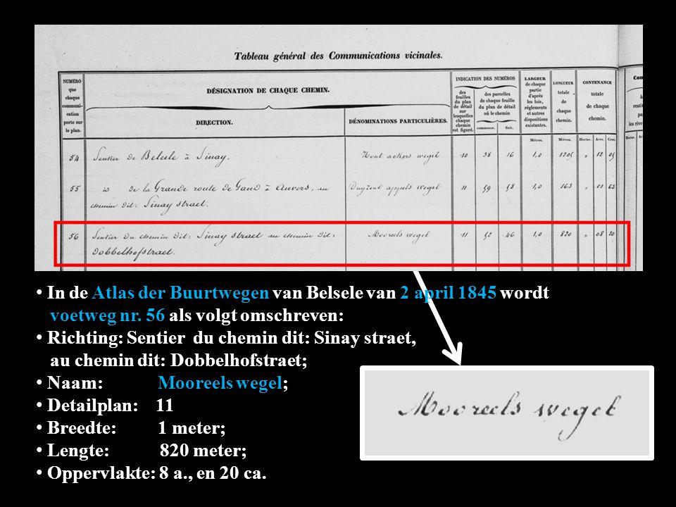 In de Atlas der Buurtwegen van Belsele van 2 april 1845 wordt wordt voetweg nr.