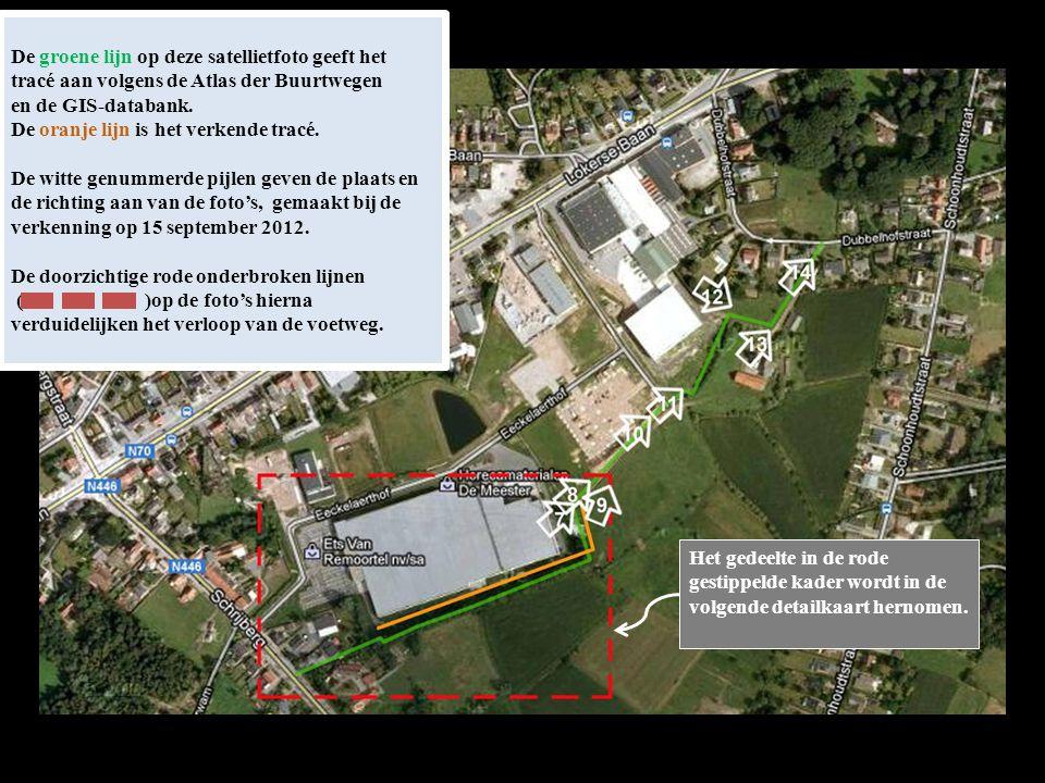 De groene lijn op deze satellietfoto geeft het tracé aan volgens de Atlas der Buurtwegen en de GIS-databank.