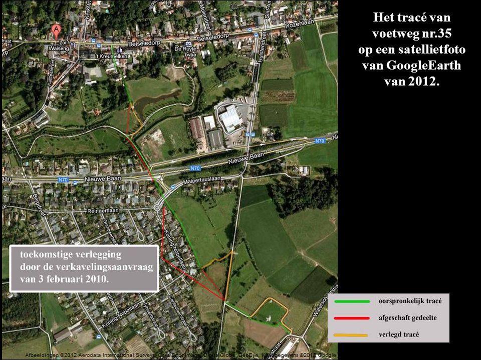 Het bruikbaar gedeelte wordt weergegeven als een blauwe lijn; waar de lijn gestippeld is (tussen N70 en de oude spoorbedding) is de voetweg verdwenen.