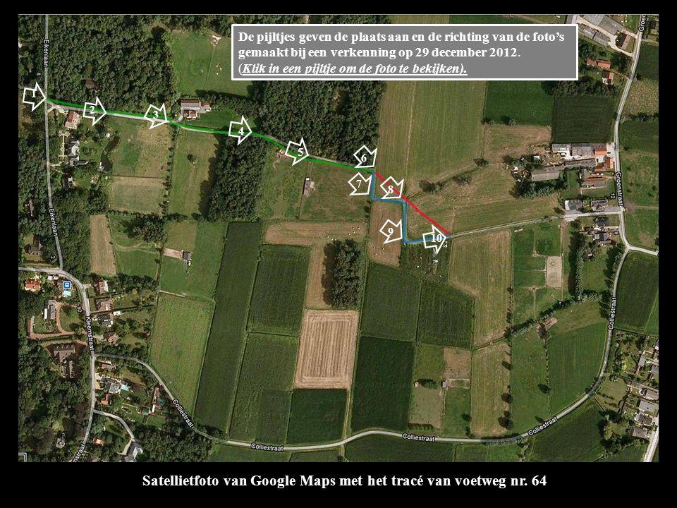 Satellietfoto van Google Maps met het tracé van voetweg nr.