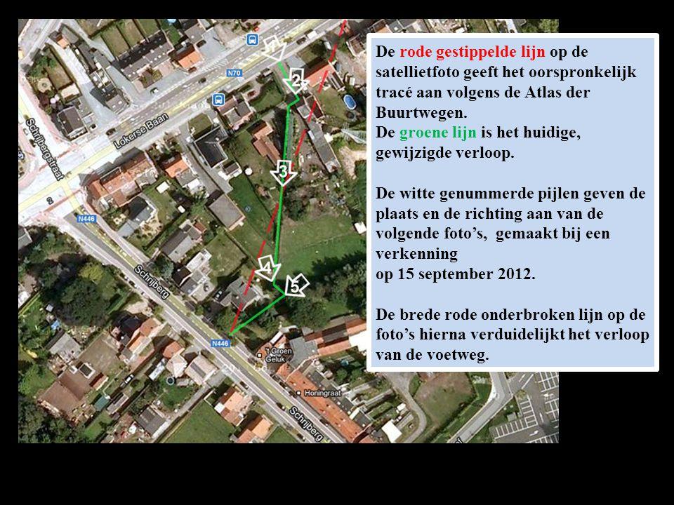 De rode gestippelde lijn op de satellietfoto geeft het oorspronkelijk tracé aan volgens de Atlas der Buurtwegen. De groene lijn is het huidige, gewijz
