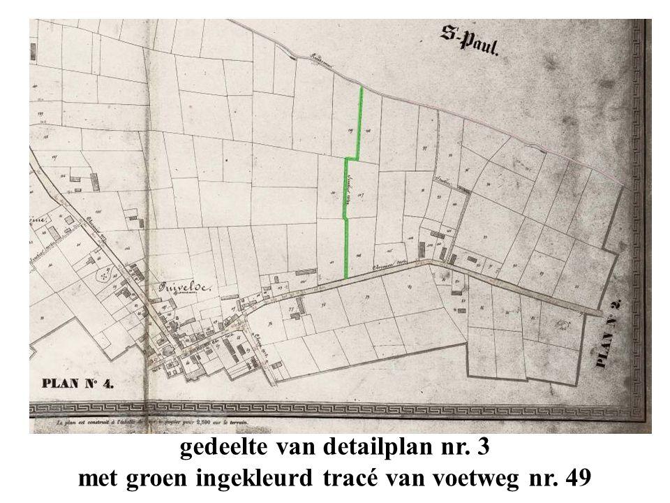 hetzelfde tracé op de topokaart van het GIS-project Oost-Vlaanderen met de plaats en de richting van de foto's, gemaakt bij de verkenning op 11 april 2011