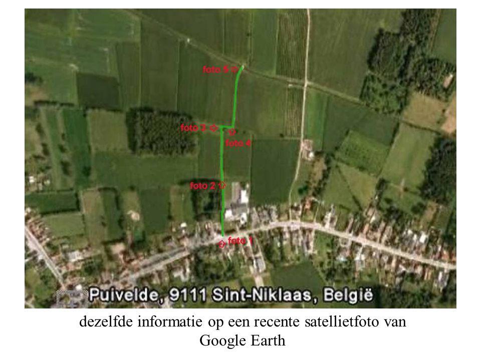 dezelfde informatie op een recente satellietfoto van Google Earth
