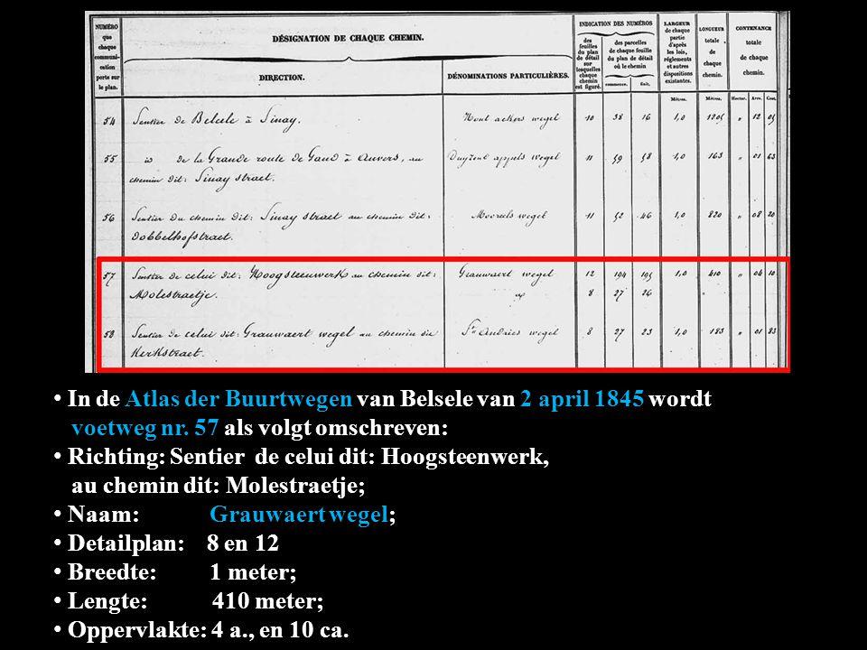 In de Atlas der Buurtwegen van Belsele van 2 april 1845 wordt wordt voetweg nr. 57 als volgt omschreven: Richting: Sentier de celui dit: Hoogsteenwerk