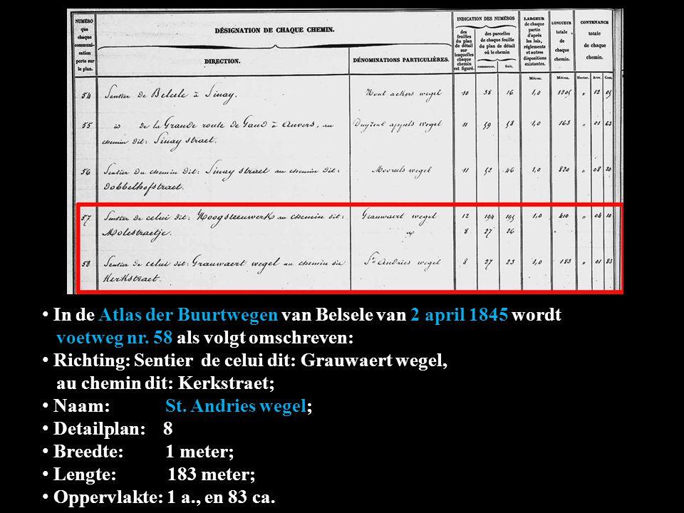 In de Atlas der Buurtwegen van Belsele van 2 april 1845 wordt wordt voetweg nr. 58 als volgt omschreven: Richting: Sentier de celui dit: Grauwaert weg