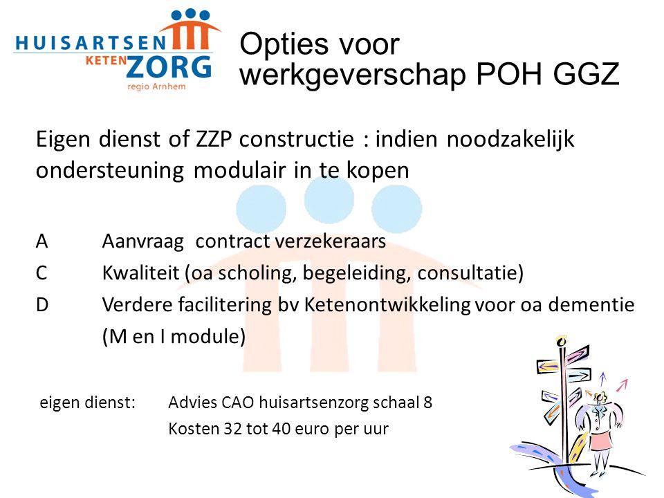 Eigen dienst of ZZP constructie : indien noodzakelijk ondersteuning modulair in te kopen AAanvraag contract verzekeraars CKwaliteit (oa scholing, bege
