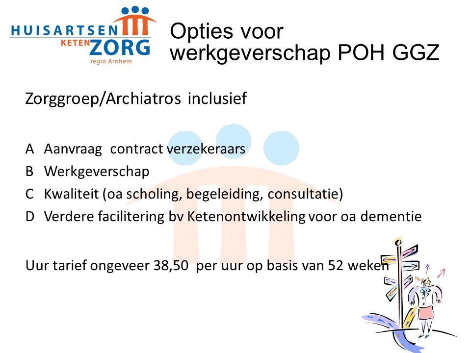 Zorggroep/Archiatros inclusief AAanvraag contract verzekeraars BWerkgeverschap CKwaliteit (oa scholing, begeleiding, consultatie) DVerdere faciliterin
