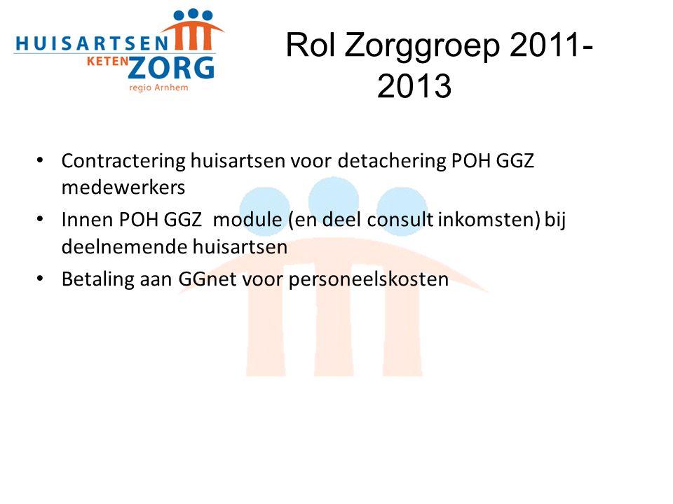 Contractering huisartsen voor detachering POH GGZ medewerkers Innen POH GGZ module (en deel consult inkomsten) bij deelnemende huisartsen Betaling aan