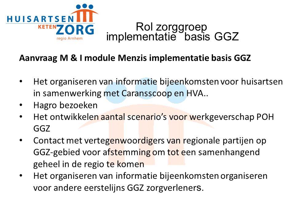 Aanvraag M & I module Menzis implementatie basis GGZ Het organiseren van informatie bijeenkomsten voor huisartsen in samenwerking met Caransscoop en H