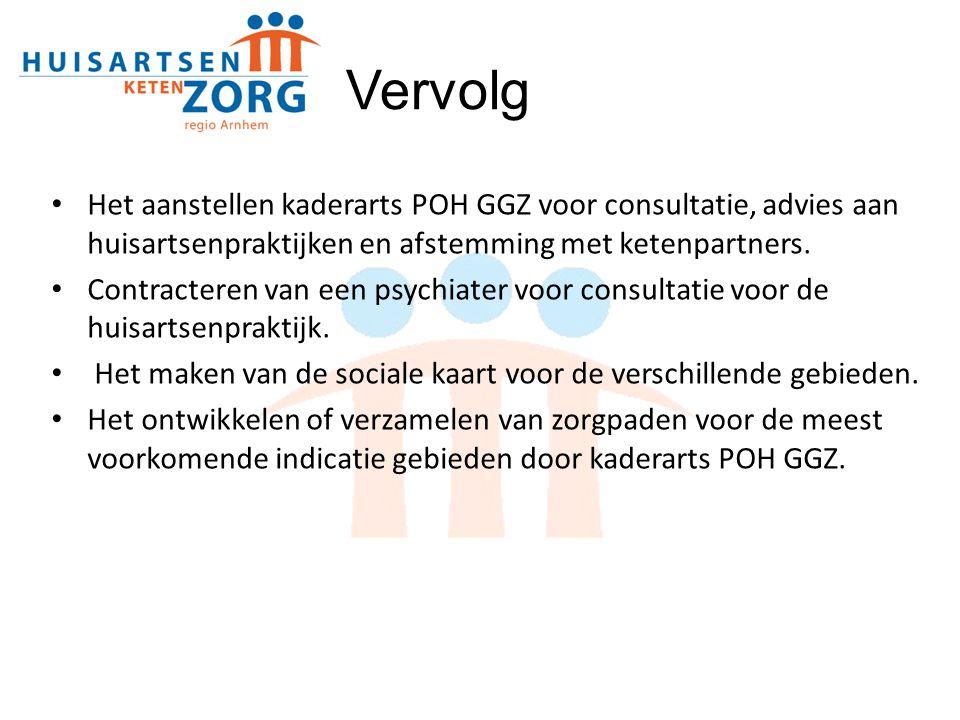 Het aanstellen kaderarts POH GGZ voor consultatie, advies aan huisartsenpraktijken en afstemming met ketenpartners. Contracteren van een psychiater vo