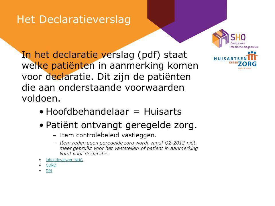 Het Declaratieverslag In het declaratie verslag (pdf) staat welke patiënten in aanmerking komen voor declaratie.
