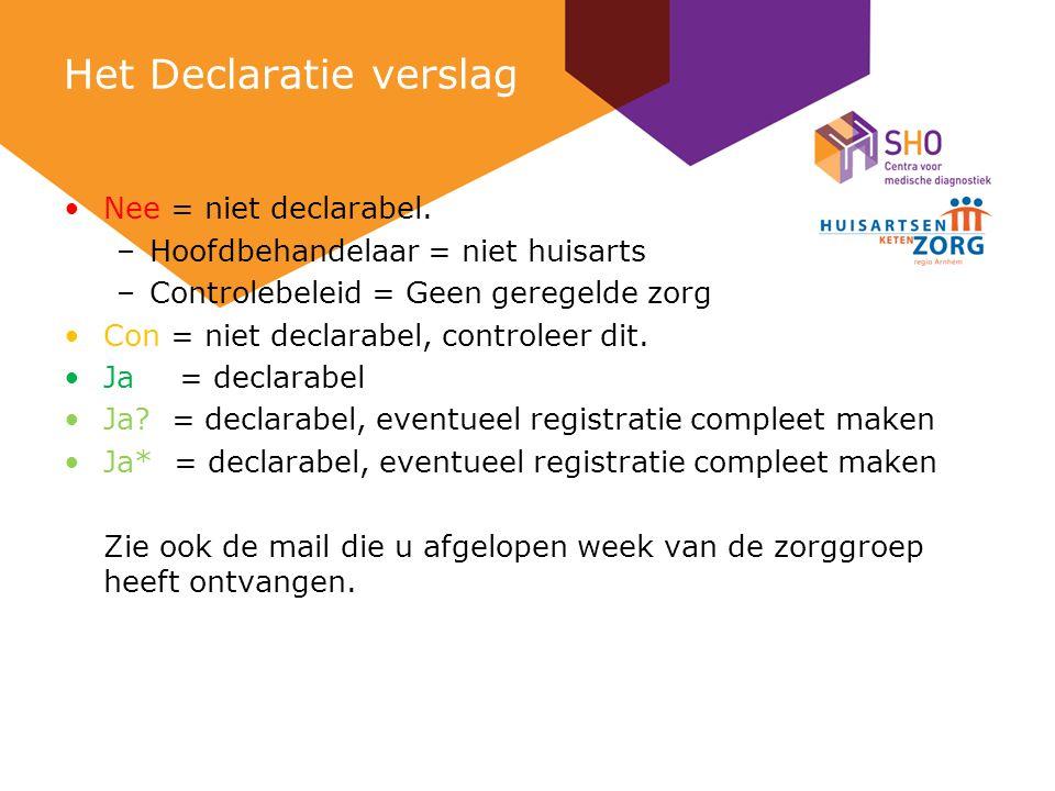 Het Declaratie verslag Nee = niet declarabel.