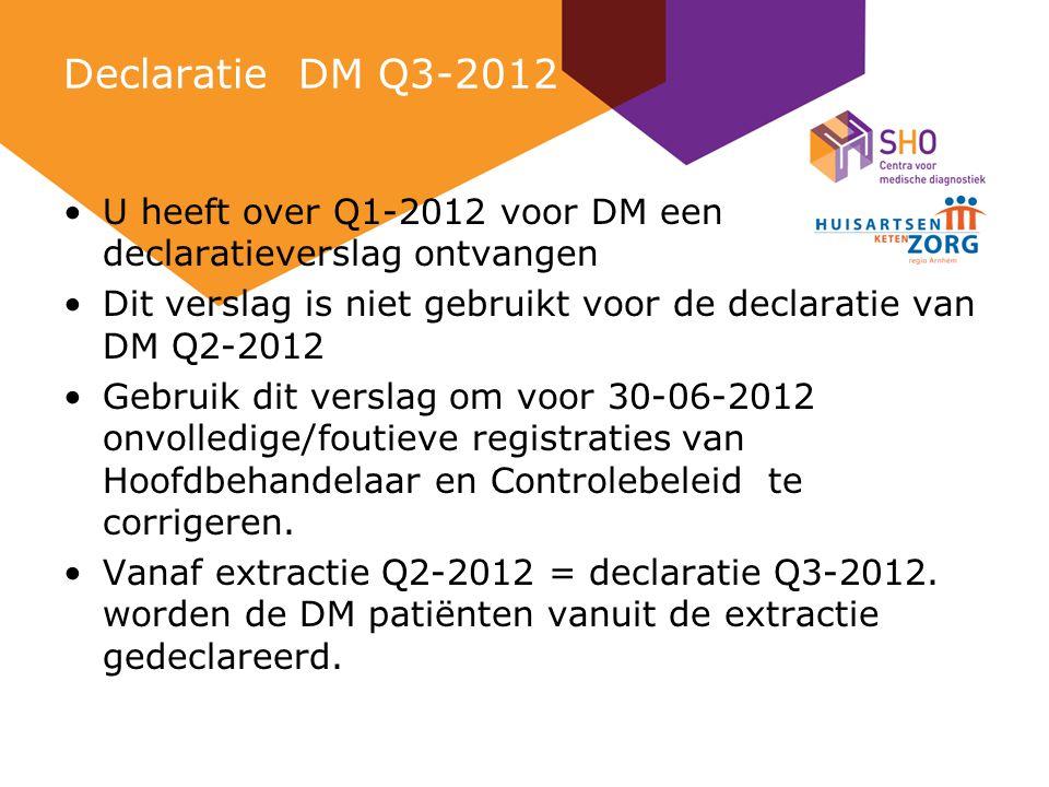 Declaratie DM Q3-2012 U heeft over Q1-2012 voor DM een declaratieverslag ontvangen Dit verslag is niet gebruikt voor de declaratie van DM Q2-2012 Gebruik dit verslag om voor 30-06-2012 onvolledige/foutieve registraties van Hoofdbehandelaar en Controlebeleid te corrigeren.