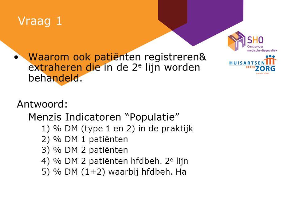 Vraag 1 Waarom ook patiënten registreren& extraheren die in de 2 e lijn worden behandeld.