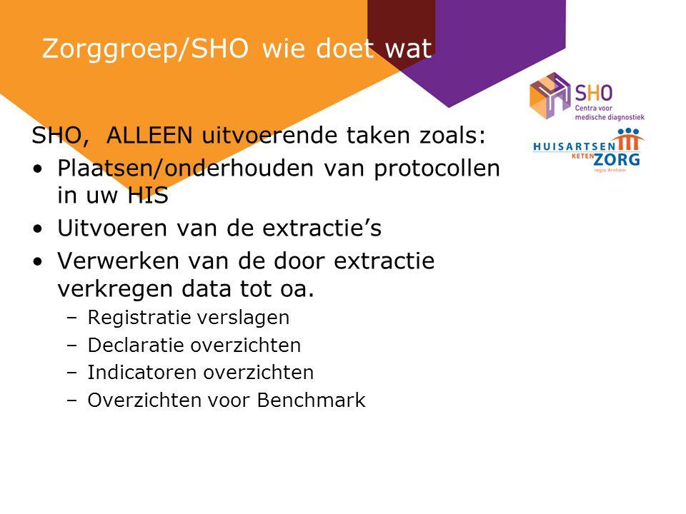 Zorggroep/SHO wie doet wat SHO, ALLEEN uitvoerende taken zoals: Plaatsen/onderhouden van protocollen in uw HIS Uitvoeren van de extractie's Verwerken van de door extractie verkregen data tot oa.