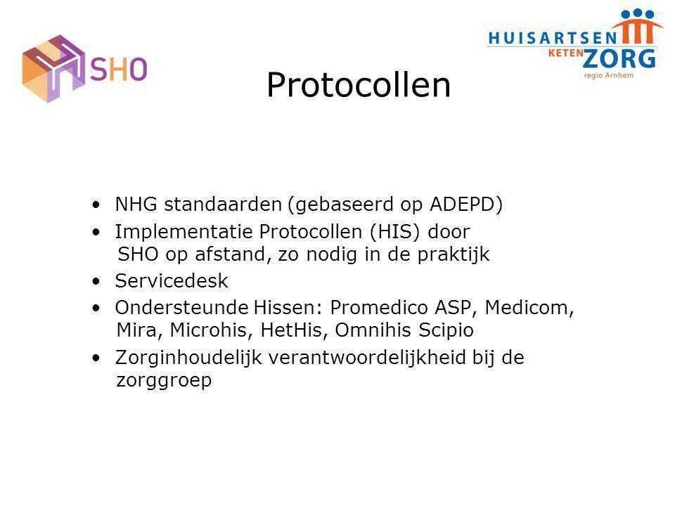 Protocollen NHG standaarden (gebaseerd op ADEPD) Implementatie Protocollen (HIS) door SHO op afstand, zo nodig in de praktijk Servicedesk Ondersteunde