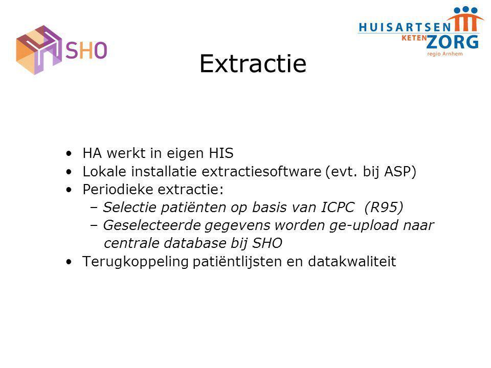 Extractie HA werkt in eigen HIS Lokale installatie extractiesoftware (evt. bij ASP) Periodieke extractie: – Selectie patiënten op basis van ICPC (R95)