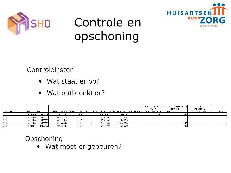 Controle en opschoning Controlelijsten Wat staat er op? Wat ontbreekt er? Opschoning Wat moet er gebeuren?