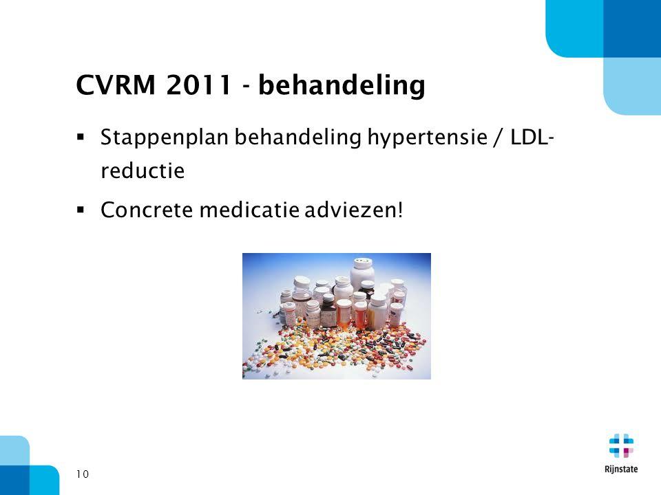 10 CVRM 2011 - behandeling  Stappenplan behandeling hypertensie / LDL- reductie  Concrete medicatie adviezen!