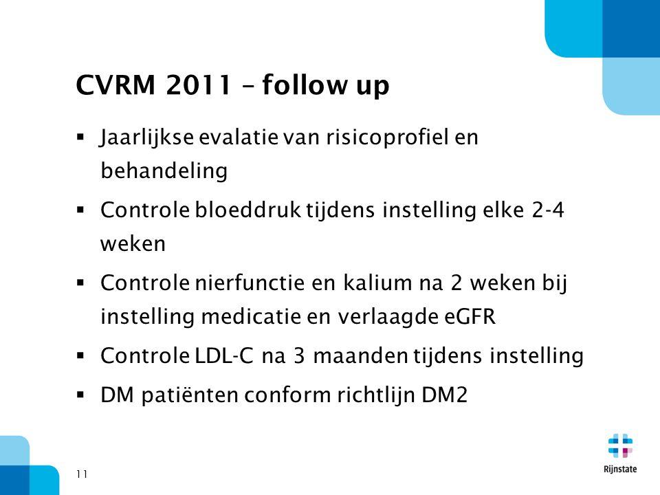11 CVRM 2011 – follow up  Jaarlijkse evalatie van risicoprofiel en behandeling  Controle bloeddruk tijdens instelling elke 2-4 weken  Controle nier