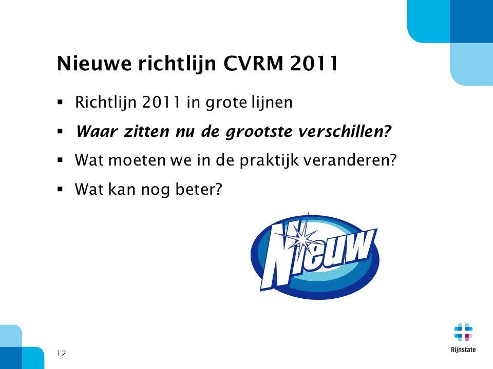 12 Nieuwe richtlijn CVRM 2011  Richtlijn 2011 in grote lijnen  Waar zitten nu de grootste verschillen?  Wat moeten we in de praktijk veranderen? 