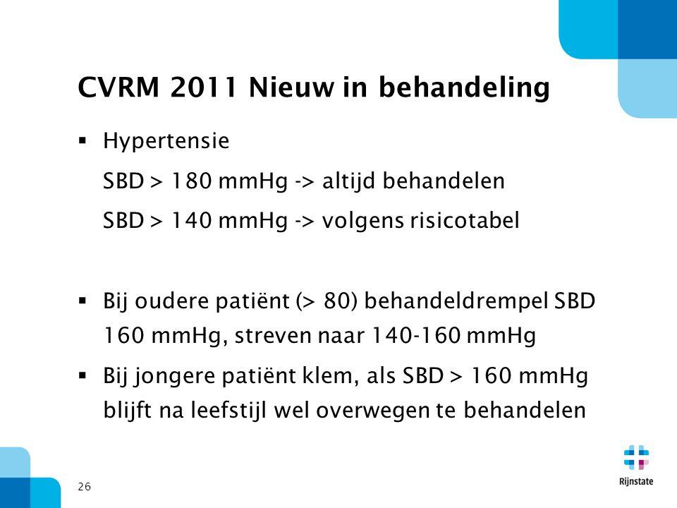 26 CVRM 2011 Nieuw in behandeling  Hypertensie SBD > 180 mmHg -> altijd behandelen SBD > 140 mmHg -> volgens risicotabel  Bij oudere patiënt (> 80)