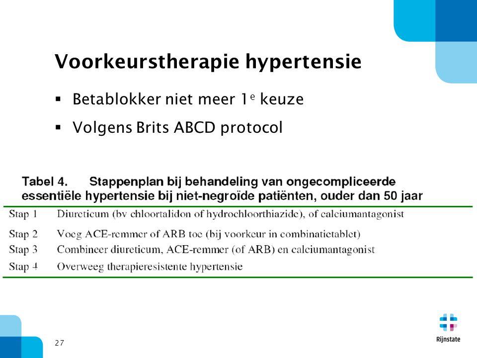 27 Voorkeurstherapie hypertensie  Betablokker niet meer 1 e keuze  Volgens Brits ABCD protocol