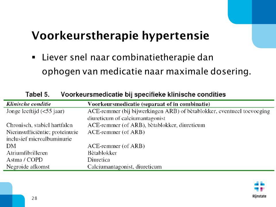 28 Voorkeurstherapie hypertensie  Liever snel naar combinatietherapie dan ophogen van medicatie naar maximale dosering.