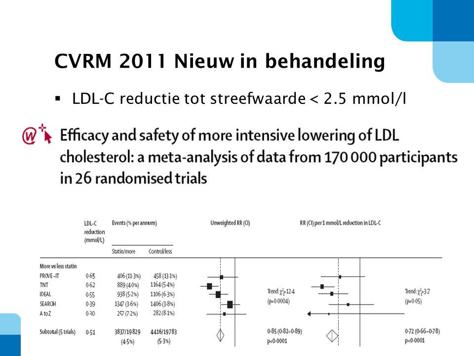 29 CVRM 2011 Nieuw in behandeling  LDL-C reductie tot streefwaarde < 2.5 mmol/l