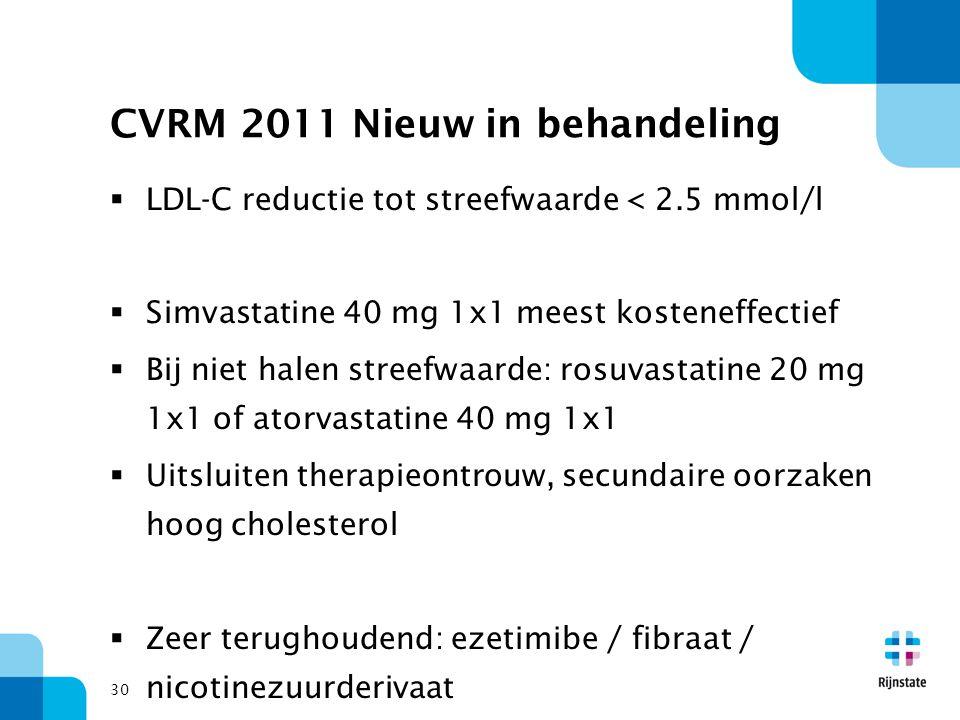 30 CVRM 2011 Nieuw in behandeling  LDL-C reductie tot streefwaarde < 2.5 mmol/l  Simvastatine 40 mg 1x1 meest kosteneffectief  Bij niet halen stree