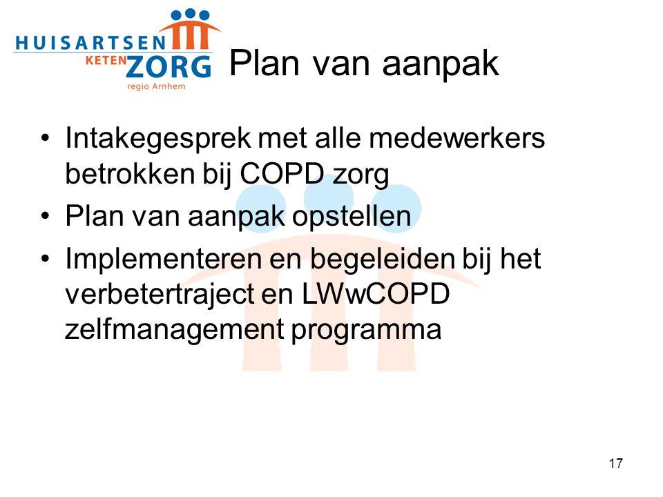 17 Plan van aanpak Intakegesprek met alle medewerkers betrokken bij COPD zorg Plan van aanpak opstellen Implementeren en begeleiden bij het verbetertr