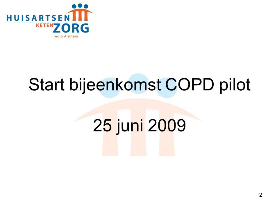 3 17.30 uur Ontvangst met soep en broodjes 18.00 uur Opening 18.10 uurStand van zaken COPD pilot 18.25 uurDe rol van de medisch adviseur en consulent 18.40 uurZorginhoudelijk: Wat verandert er na 1 juli 2009 19:00 uurZelfmanagement 19:15 uurFinanciën 19.30 uurDatamanagement 19.45 uurAfsluiting Agenda
