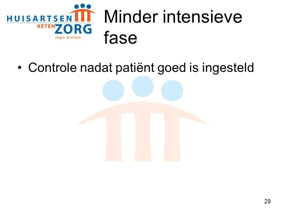 29 Minder intensieve fase Controle nadat patiënt goed is ingesteld