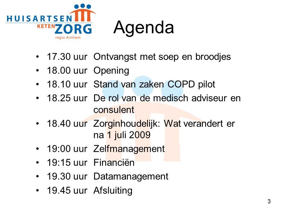 3 17.30 uur Ontvangst met soep en broodjes 18.00 uur Opening 18.10 uurStand van zaken COPD pilot 18.25 uurDe rol van de medisch adviseur en consulent