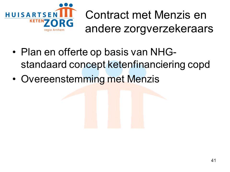 41 Contract met Menzis en andere zorgverzekeraars Plan en offerte op basis van NHG- standaard concept ketenfinanciering copd Overeenstemming met Menzi