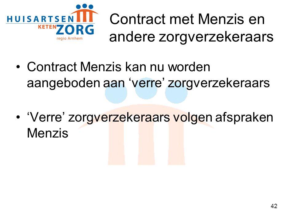 42 Contract met Menzis en andere zorgverzekeraars Contract Menzis kan nu worden aangeboden aan 'verre' zorgverzekeraars 'Verre' zorgverzekeraars volge