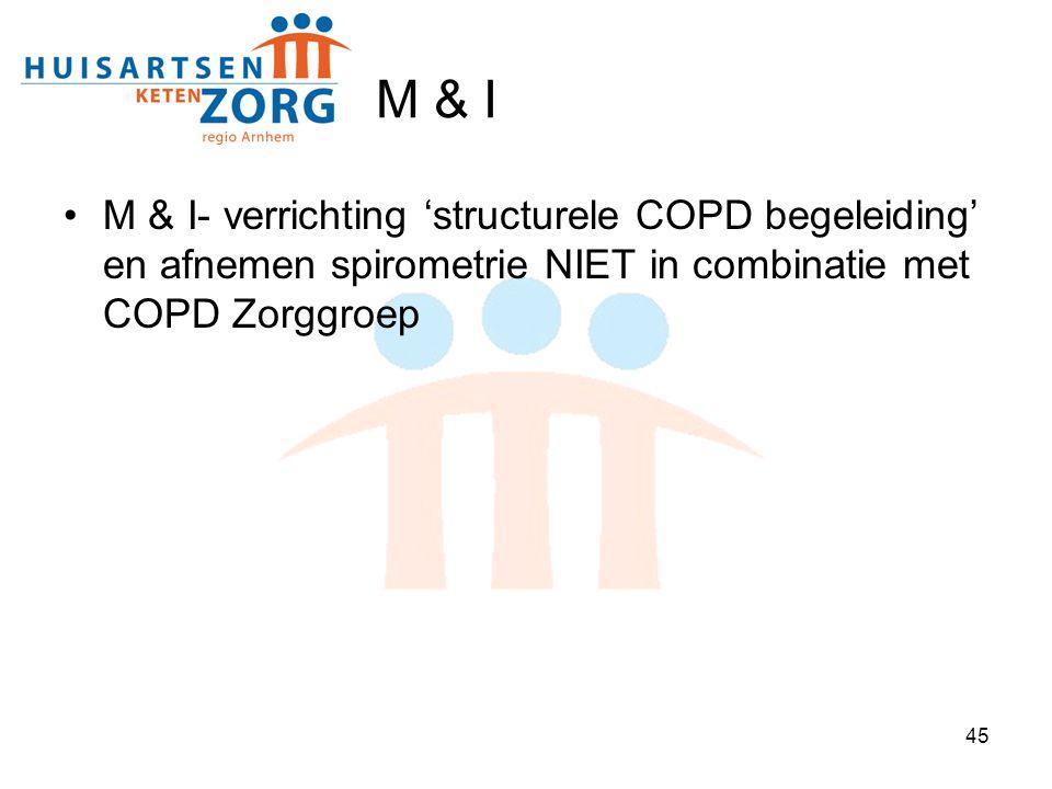 45 M & I M & I- verrichting 'structurele COPD begeleiding' en afnemen spirometrie NIET in combinatie met COPD Zorggroep
