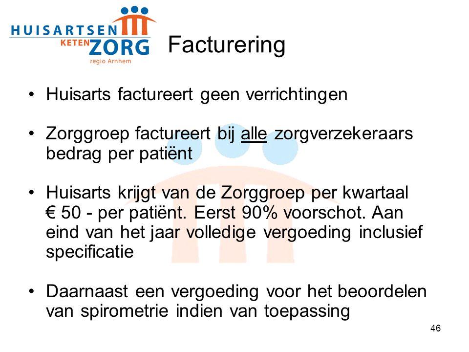 46 Facturering Huisarts factureert geen verrichtingen Zorggroep factureert bij alle zorgverzekeraars bedrag per patiënt Huisarts krijgt van de Zorggro