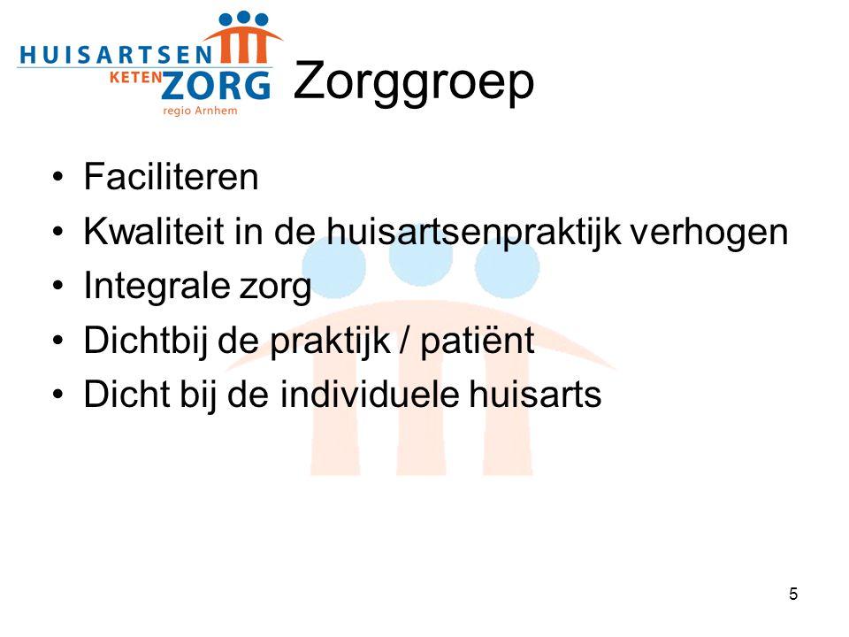 5 Zorggroep Faciliteren Kwaliteit in de huisartsenpraktijk verhogen Integrale zorg Dichtbij de praktijk / patiënt Dicht bij de individuele huisarts