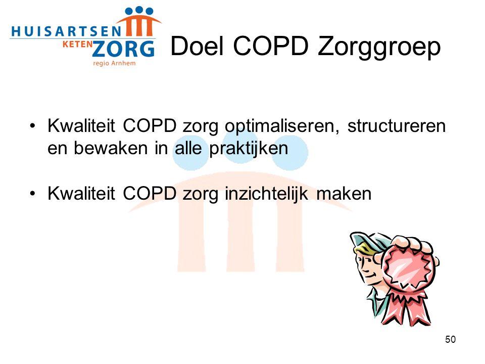 50 Doel COPD Zorggroep Kwaliteit COPD zorg optimaliseren, structureren en bewaken in alle praktijken Kwaliteit COPD zorg inzichtelijk maken