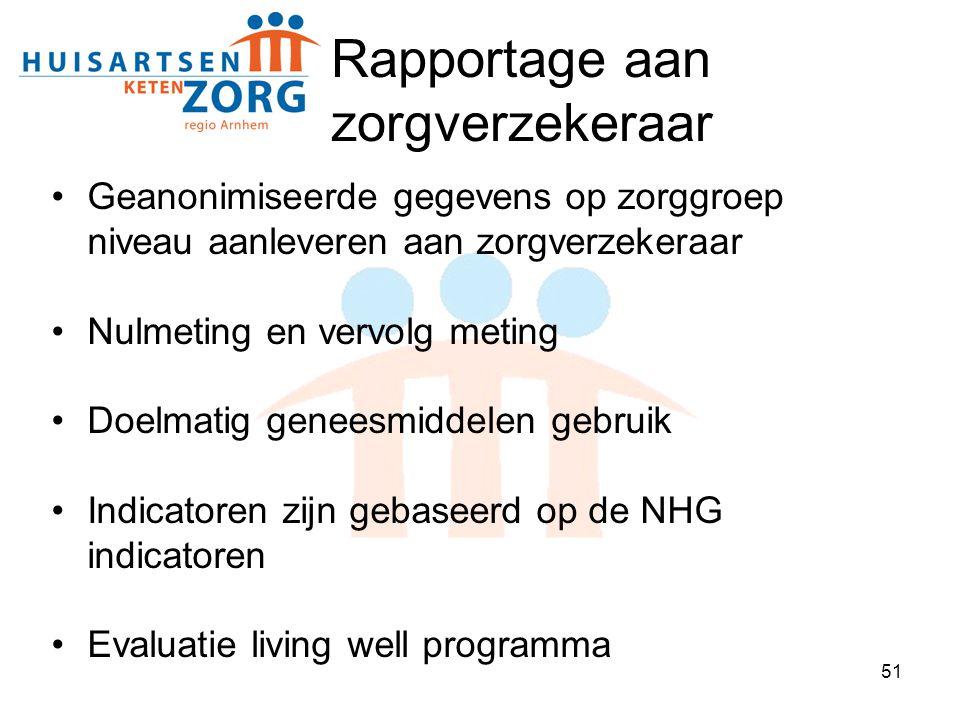 51 Rapportage aan zorgverzekeraar Geanonimiseerde gegevens op zorggroep niveau aanleveren aan zorgverzekeraar Nulmeting en vervolg meting Doelmatig ge
