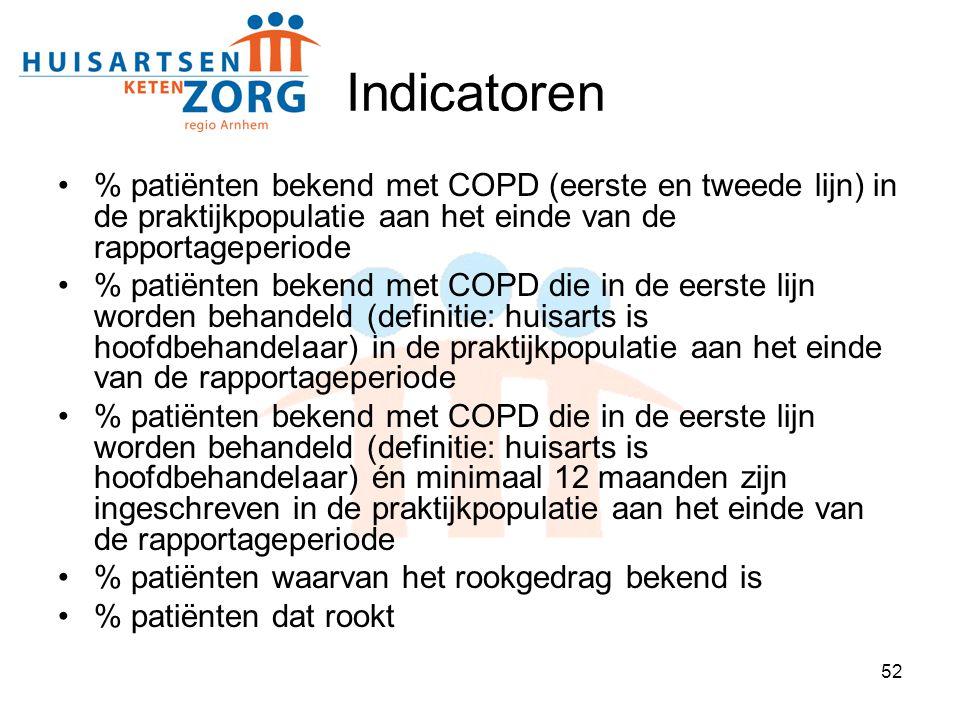 52 Indicatoren % patiënten bekend met COPD (eerste en tweede lijn) in de praktijkpopulatie aan het einde van de rapportageperiode % patiënten bekend m