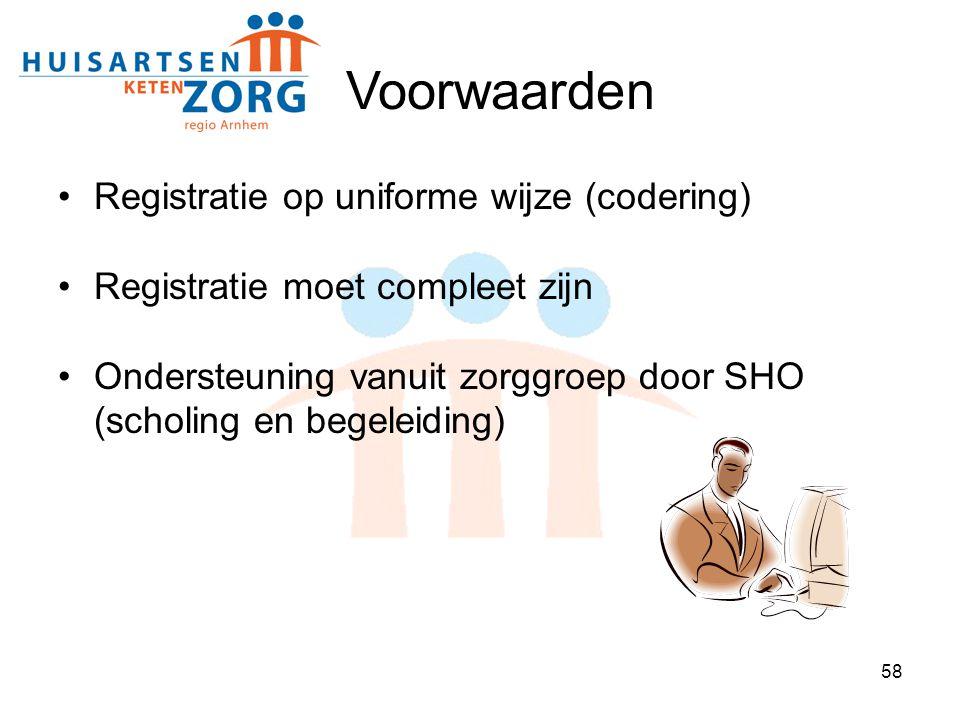 58 Voorwaarden Registratie op uniforme wijze (codering) Registratie moet compleet zijn Ondersteuning vanuit zorggroep door SHO (scholing en begeleidin