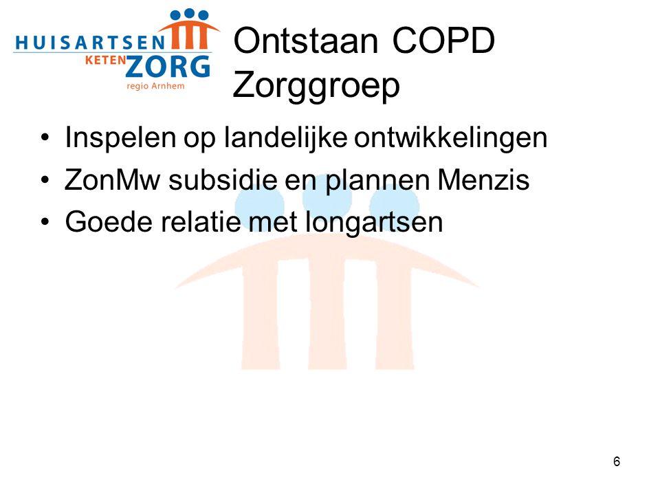 6 Ontstaan COPD Zorggroep Inspelen op landelijke ontwikkelingen ZonMw subsidie en plannen Menzis Goede relatie met longartsen