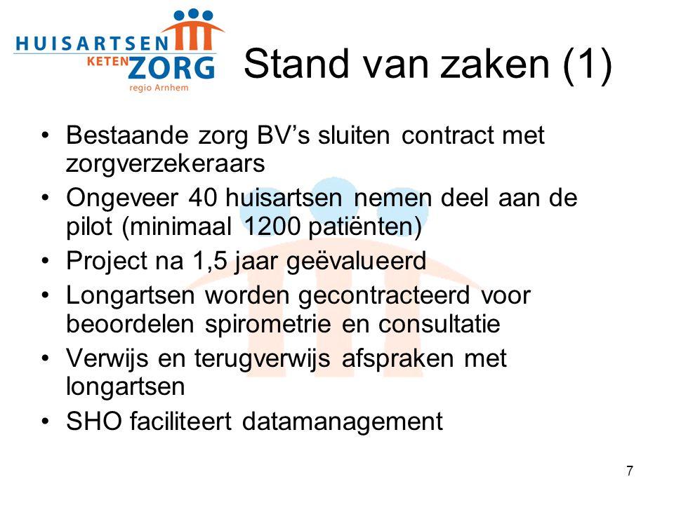 7 Stand van zaken (1) Bestaande zorg BV's sluiten contract met zorgverzekeraars Ongeveer 40 huisartsen nemen deel aan de pilot (minimaal 1200 patiënte