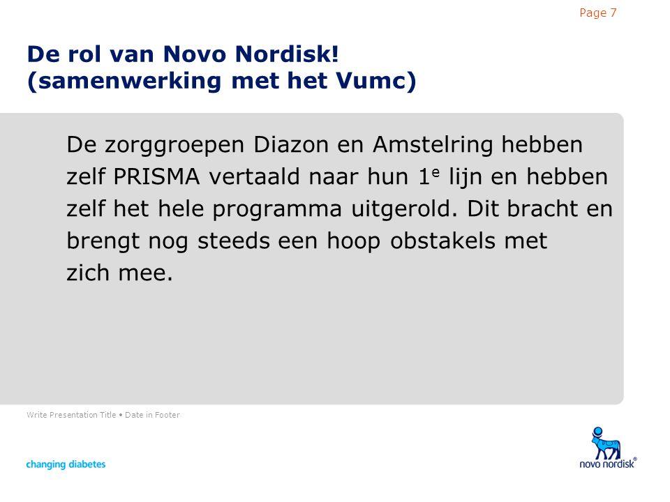 Write Presentation Title Date in Footer Page 7 De rol van Novo Nordisk.