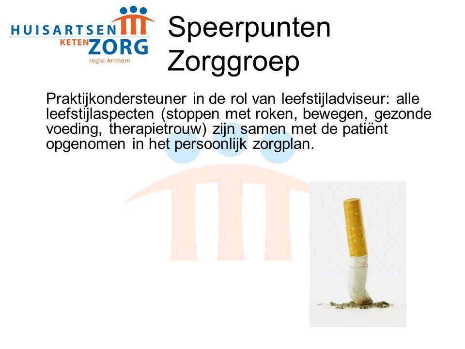 Speerpunten Zorggroep Praktijkondersteuner in de rol van leefstijladviseur: alle leefstijlaspecten (stoppen met roken, bewegen, gezonde voeding, thera