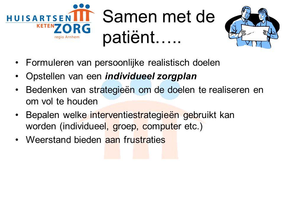 Samen met de patiënt….. Formuleren van persoonlijke realistisch doelen Opstellen van een individueel zorgplan Bedenken van strategieën om de doelen te