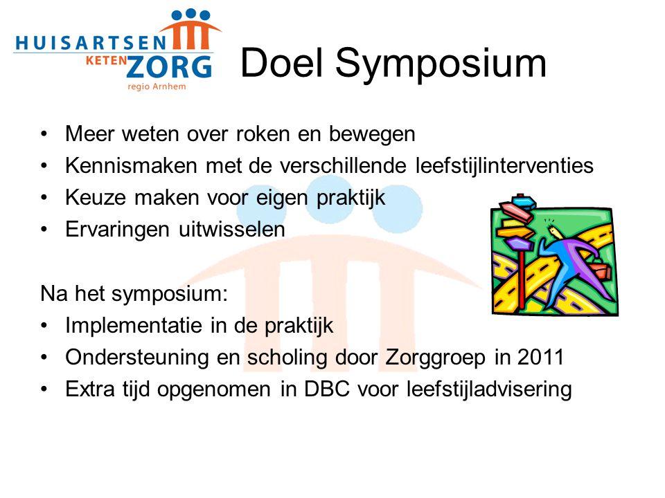 Doel Symposium Meer weten over roken en bewegen Kennismaken met de verschillende leefstijlinterventies Keuze maken voor eigen praktijk Ervaringen uitw